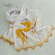 Аксессуары handmade. Livemaster - original item Scarves: Wonder Bird Scarf, Textile White Women`s Scarf with Lace. Handmade.
