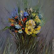 Картина маслом. Лесные цветы