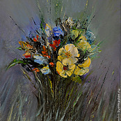 Pictures handmade. Livemaster - original item Oil painting with flowers. Wild flowers Bouquet. Handmade.