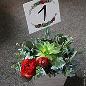 """Свадебный салон ручной работы. Ярмарка Мастеров - ручная работа Композиция на стол гостям """"Алая"""". Handmade."""