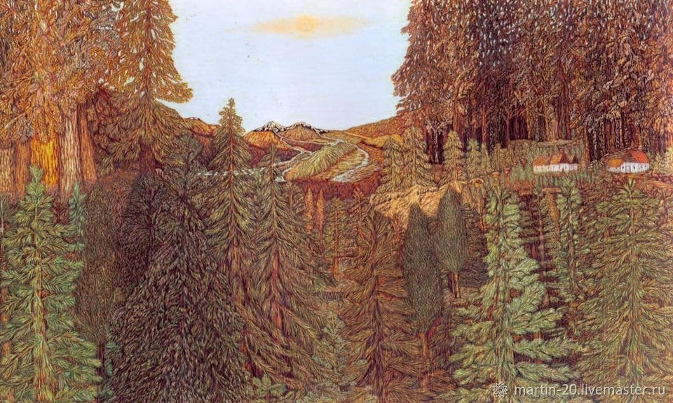 Деревня в лесу, Картины, Тбилиси,  Фото №1
