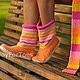 """Обувь ручной работы. Ярмарка Мастеров - ручная работа. Купить """"Конфетные сапожки - антидепрессанты"""" (улица). Handmade. Сапожки, осенняя мода"""