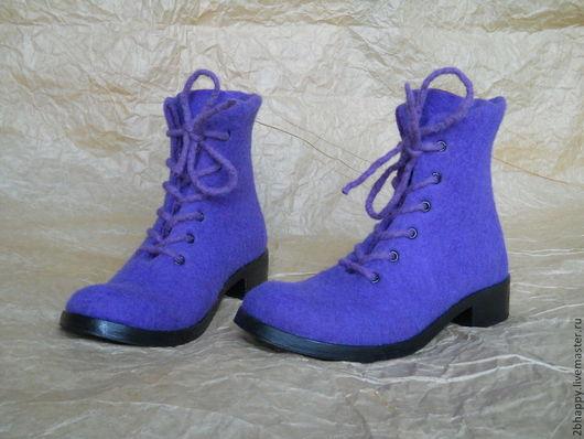 Обувь ручной работы. Ярмарка Мастеров - ручная работа. Купить Валяные ботинки STILISSIMO  purple. Handmade. Фиолетовый, ботинки женские
