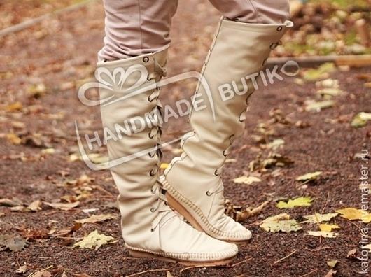 NEW! Сапоги-Ботфорты из кожи со шнуровкой Молочные. Любые размеры и цвета на заказ!