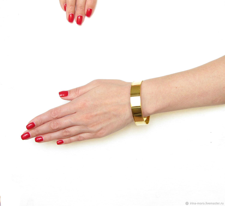 Gold bracelet wide, solid bracelet, one-piece bracelet, Hard bracelet, Moscow,  Фото №1