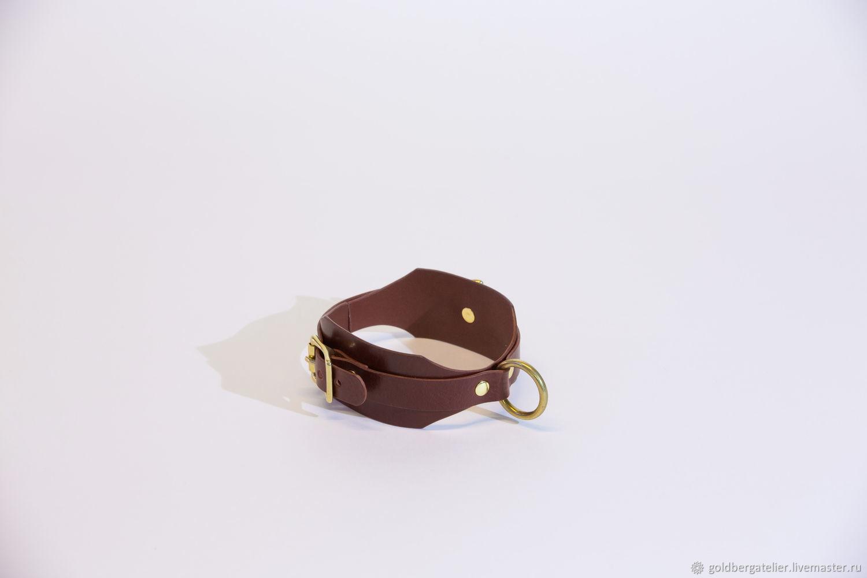 Шоколадный кожаный чокер с кольцом, БДСМ ошейник из кожи, Ошейник, Санкт-Петербург,  Фото №1