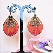 Украшения handmade. Livemaster - original item Earrings with Real Red Tulip petals Epoxy Resin. Handmade.