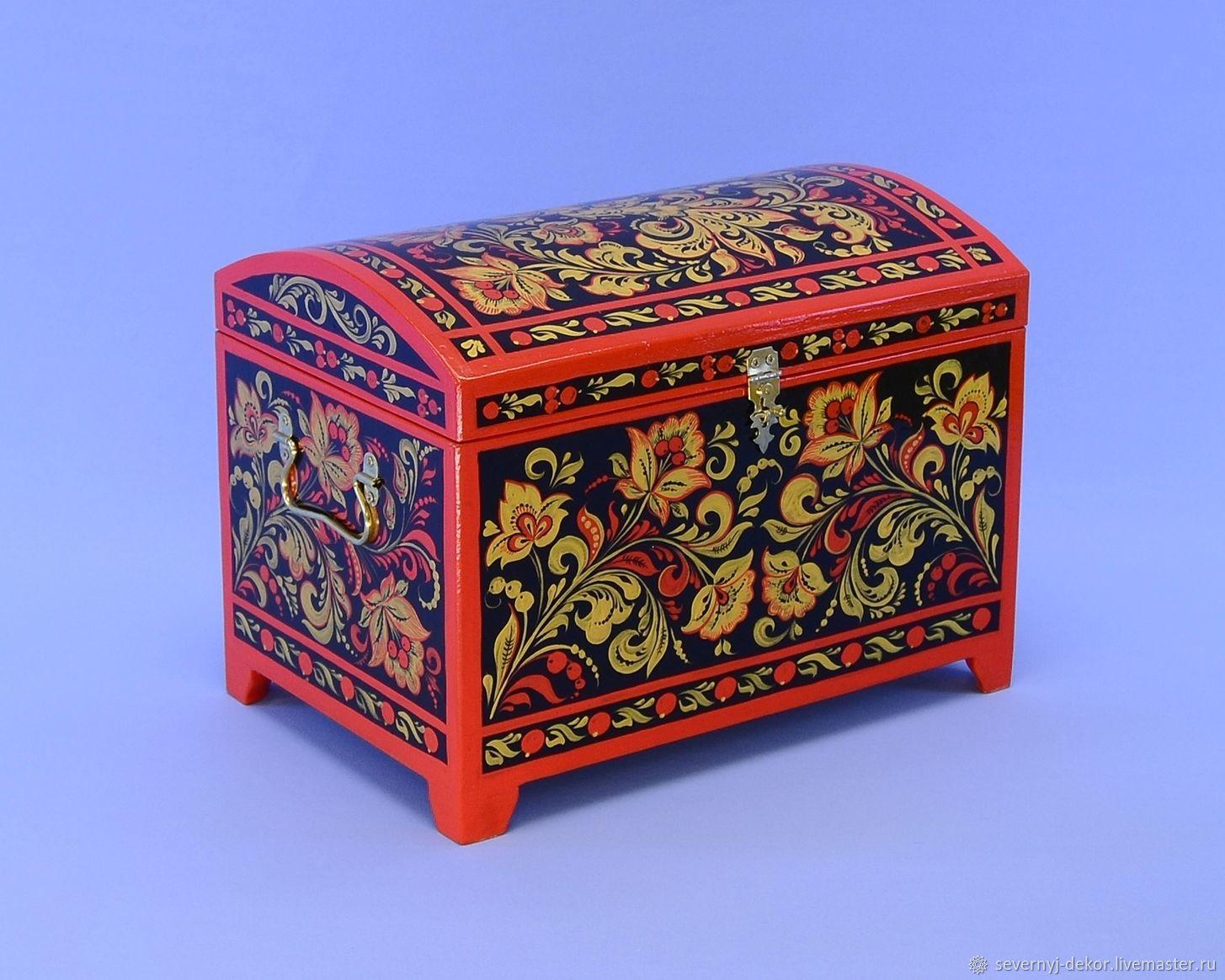 Сундучок малый (Стилизация хохломской росписи), Хранение вещей, Северодвинск,  Фото №1