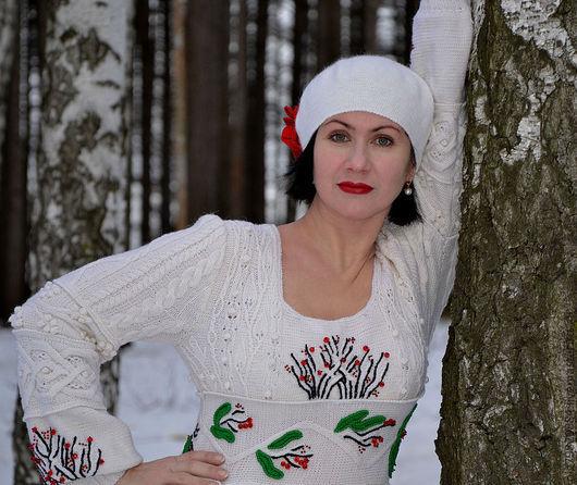 """Платья ручной работы. Ярмарка Мастеров - ручная работа. Купить Платье теплое вязанное из шерсти с косами """"Альпийская сказка"""". Handmade."""