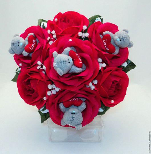 """Букеты ручной работы. Ярмарка Мастеров - ручная работа. Купить Букет из конфет """"Красные розы с Мишками-Тедди"""".. Handmade."""