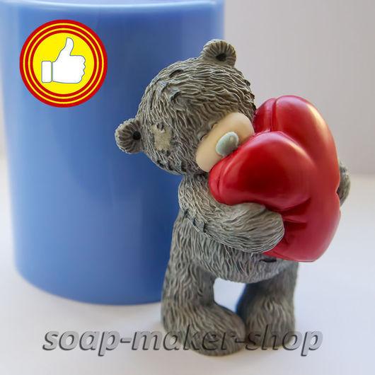 Материалы для косметики ручной работы. Ярмарка Мастеров - ручная работа. Купить Силиконовая форма для мыла «Тедди с сердцем». Handmade.