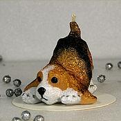 Сувениры и подарки ручной работы. Ярмарка Мастеров - ручная работа Свеча Новогодняя Собака коричневая. Handmade.