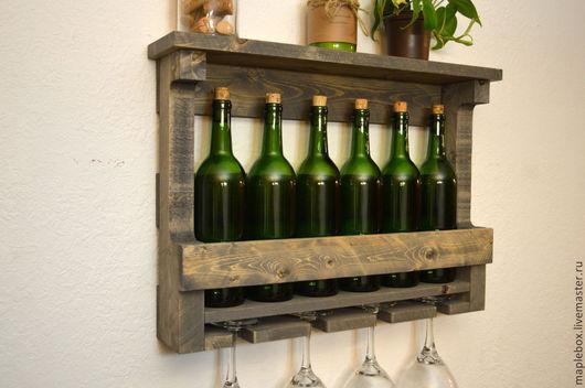 Мебель ручной работы. Ярмарка Мастеров - ручная работа. Купить Полка для винных бутылок. Handmade. Серый, массив, сосна