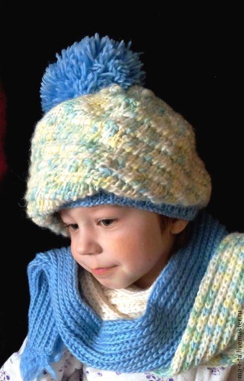 Детские аксессуары ручной работы. Ярмарка Мастеров - ручная работа. Купить Шапка и шарф ручной вязки. Handmade. Абстрактный, с помпоном