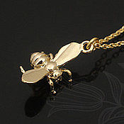Материалы для творчества handmade. Livemaster - original item Pendant for jewelry gold-plated Bee art. .4-24B. Handmade.