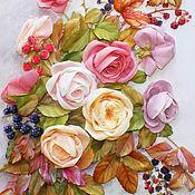 Картина лентами Розы и ягоды 47 х 40 см