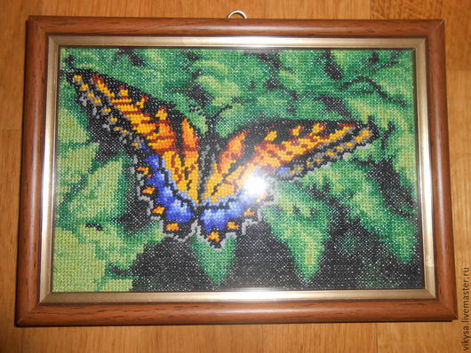 """Животные ручной работы. Ярмарка Мастеров - ручная работа. Купить Картина крестик + бисер """"Бабочка"""". Handmade. Зеленый"""