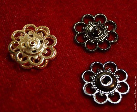 Шитье ручной работы. Ярмарка Мастеров - ручная работа. Купить Кнопка металлическая ажурная 25мм Цветок (2 вида). Handmade.