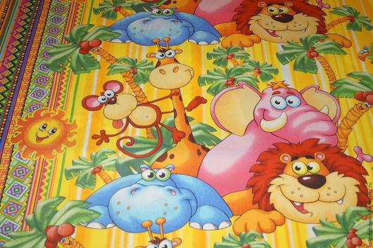 """Шитье ручной работы. Ярмарка Мастеров - ручная работа. Купить Ткань с детским рисунком бязь хлопок 100%  """" Оранжевое солнце"""". Handmade."""
