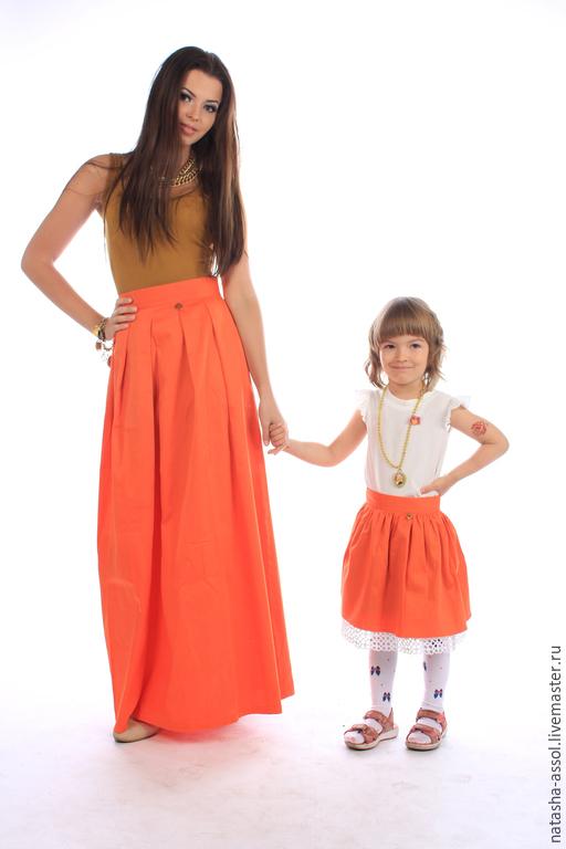 Одежда для девочек, ручной работы. Ярмарка Мастеров - ручная работа. Купить Оранжевая юбка для девочки. Handmade. Оранжевый, детская юбка