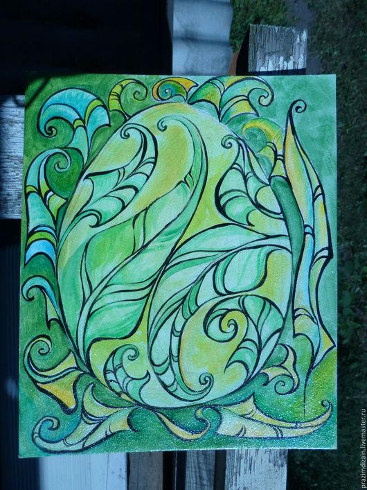 Фантазийные сюжеты ручной работы. Ярмарка Мастеров - ручная работа. Купить Цветок папоротника. Handmade. Зеленый, овальный, лак акриловый