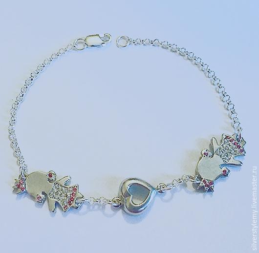 Браслеты ручной работы. Ярмарка Мастеров - ручная работа. Купить браслет детки для мамы принцесса из серебра. Handmade. подарок на рождение