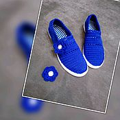 Обувь ручной работы handmade. Livemaster - original item knitted shoes. shoes to order. Shoes Color blue. Handmade.