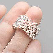 Украшения ручной работы. Ярмарка Мастеров - ручная работа светлое кольцо из серебра Кружево Мха, широкое кольцо. Handmade.