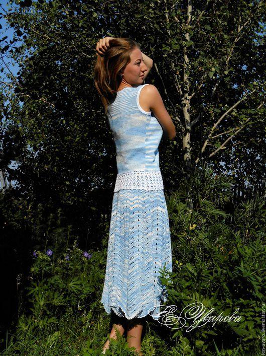 Костюмы ручной работы. Ярмарка Мастеров - ручная работа. Купить Синий лен.. Handmade. Голубой, небо, юбка ажурная