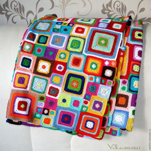 """Текстиль, ковры ручной работы. Ярмарка Мастеров - ручная работа. Купить Плед """"Babette Blanket"""" хб. Handmade. Комбинированный, крючком"""