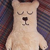 Подушки ручной работы. Ярмарка Мастеров - ручная работа Интерьерная мягкая игрушка-подушка из меха Сонный мишка. Handmade.