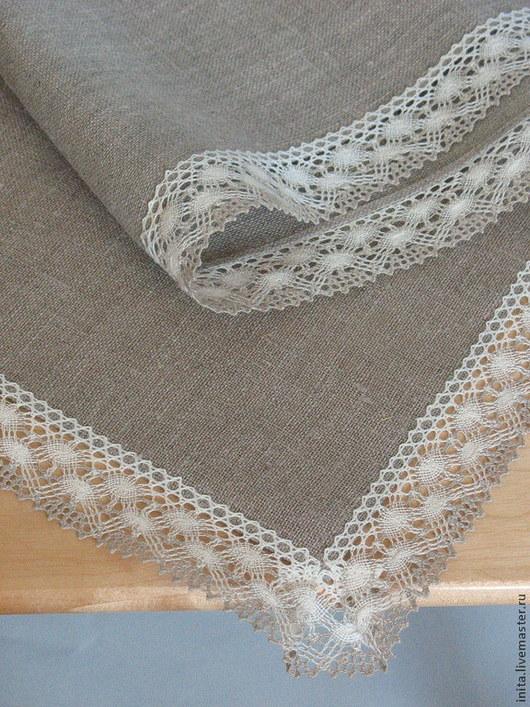 Текстиль, ковры ручной работы. Ярмарка Мастеров - ручная работа. Купить Скатерть льняная серая, размер 1.05m x 1.05m. Handmade.