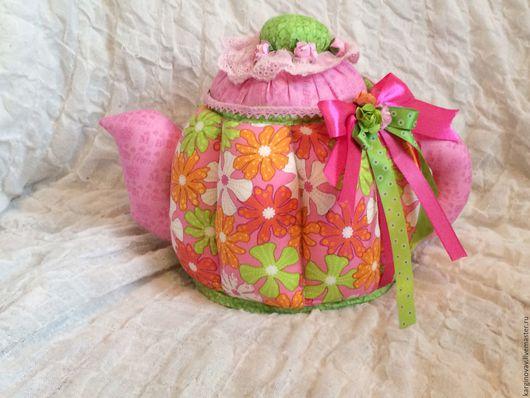 Кухня ручной работы. Ярмарка Мастеров - ручная работа. Купить Текстильный чайник Лето. Handmade. Ярко-зелёный, розовый, чайник