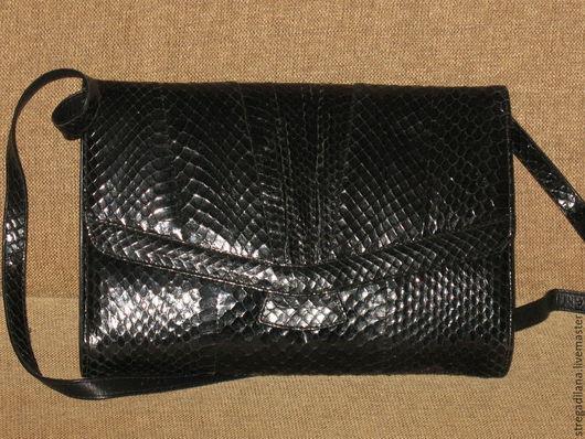 Винтажные сумки и кошельки. Ярмарка Мастеров - ручная работа. Купить ВИНТАЖНАЯ СУМКА ИЗ КОЖИ ПИТОНА. Handmade. Черный