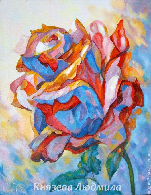 """Картины цветов ручной работы. Ярмарка Мастеров - ручная работа. Купить """"Розовый кристалл ( роза )"""". Картина акрил, холст на картоне.. Handmade."""