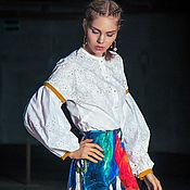 Одежда ручной работы. Ярмарка Мастеров - ручная работа Белая блуза с перфорацией и жемчугом. Handmade.
