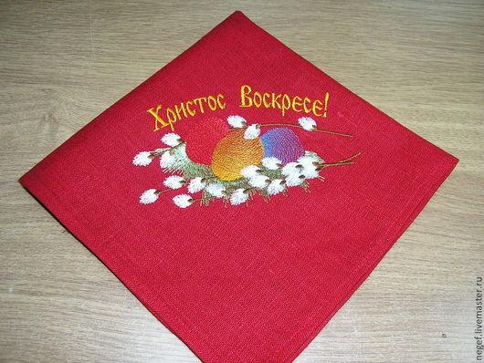 """Текстиль, ковры ручной работы. Ярмарка Мастеров - ручная работа. Купить салфетка пасхальная """"нежность"""". Handmade. Ярко-красный, религия"""