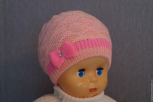 """Шапки ручной работы. Ярмарка Мастеров - ручная работа. Купить Шапочка их полушерстяной пряжи """"Ириска"""". Handmade. Розовый, для девочек"""