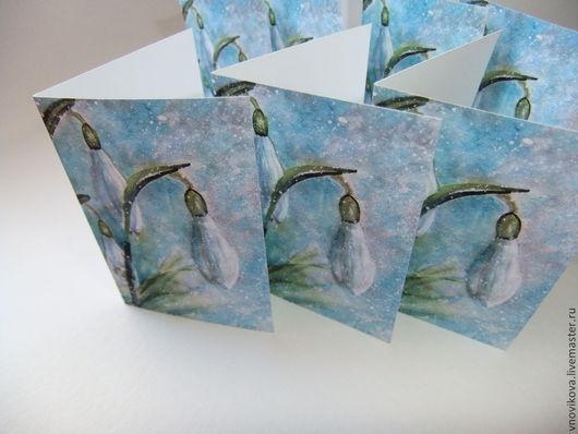 """Открытки на все случаи жизни ручной работы. Ярмарка Мастеров - ручная работа. Купить открытка """" Снежные цветы - мини """""""". Handmade."""