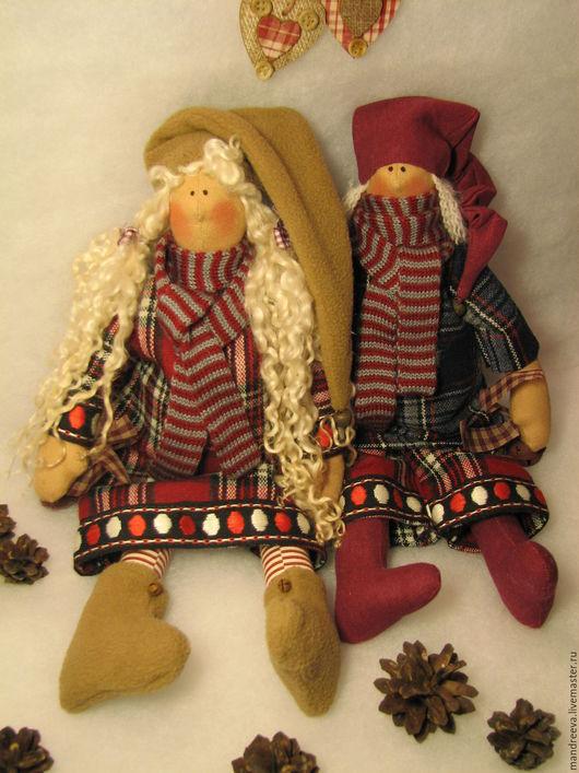 Куклы Тильды ручной работы. Ярмарка Мастеров - ручная работа. Купить Гномы Тёплые сказки о зиме.... Handmade. Бордовый, гномик