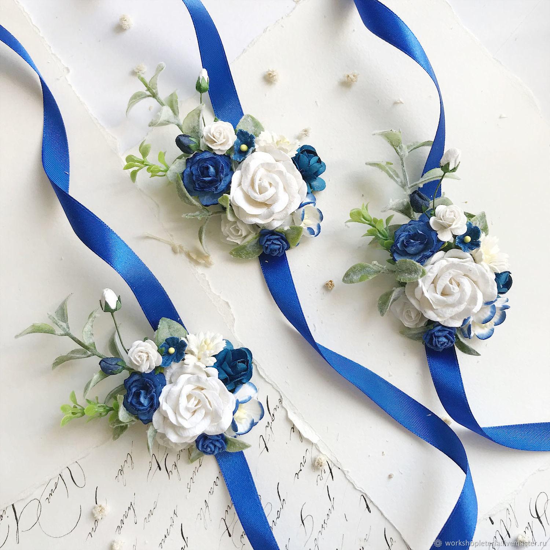 Цветочные браслеты с синими цветами, для подружек невесты, Б-46, Браслеты, Санкт-Петербург,  Фото №1