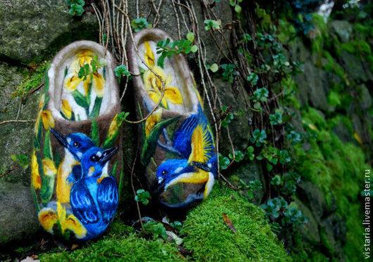 Обувь ручной работы. Ярмарка Мастеров - ручная работа. Купить Тапочки 41 «Душевные». Handmade. Собачья шерсть, рисунок шерстью