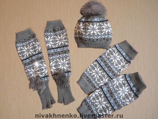 Sets of Items handmade. Livemaster - handmade. Buy Leg warmers, fingerless gloves, hat (set).Author's knitwear