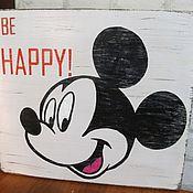 Для дома и интерьера ручной работы. Ярмарка Мастеров - ручная работа Картина деревянная Микки Маус ретро. Handmade.
