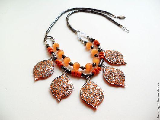 """Колье, бусы ручной работы. Ярмарка Мастеров - ручная работа. Купить Бусы """"Оранжевая осень"""". Handmade. Рыжий, черный, гематит"""