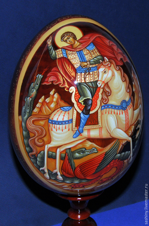 Яйца ручной работы. Ярмарка Мастеров - ручная работа. Купить Пасхальное яйцо Георгий победоносец ручная роспись. Handmade.