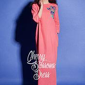 Одежда ручной работы. Ярмарка Мастеров - ручная работа Вышитое розовое льняное платье, макси платье, кафтан - ручная работа. Handmade.