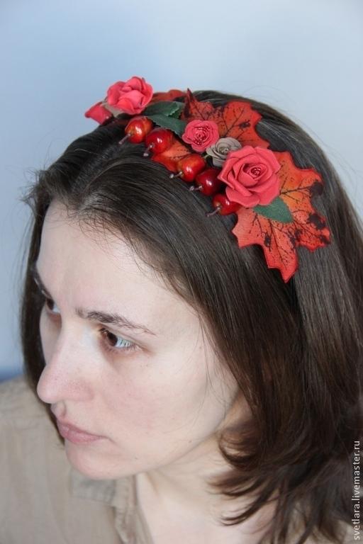 """Диадемы, обручи ручной работы. Ярмарка Мастеров - ручная работа. Купить Ободок """"Яркая осень"""". Handmade. Красный, подарок"""