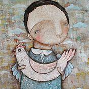 Картины и панно ручной работы. Ярмарка Мастеров - ручная работа С петушком (репродукция). Handmade.
