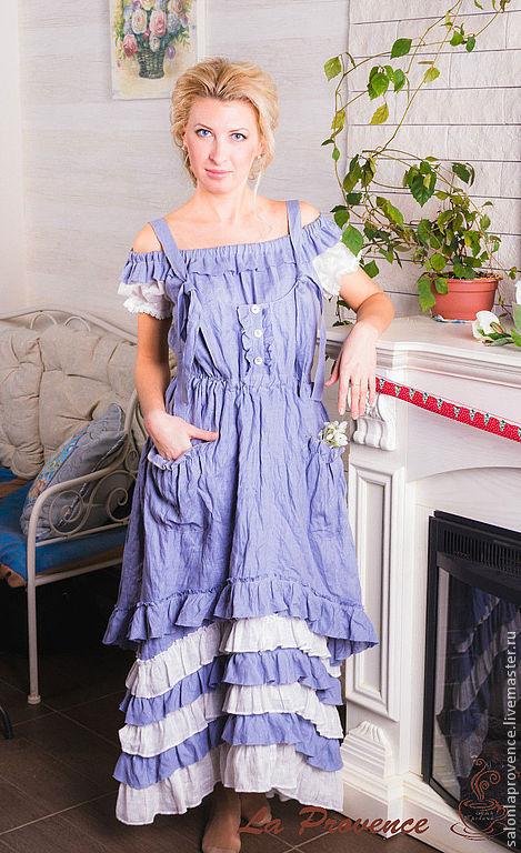 Платья ручной работы. Ярмарка Мастеров - ручная работа. Купить Платье с фартуком  БОХО. Handmade. Бохо, стильное, льняное кружево